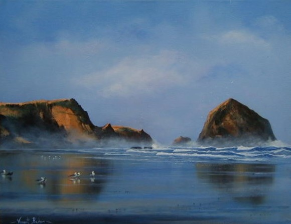 After The Rain 410 x 510 by Vincent Basham Seascape Artist Cornwall