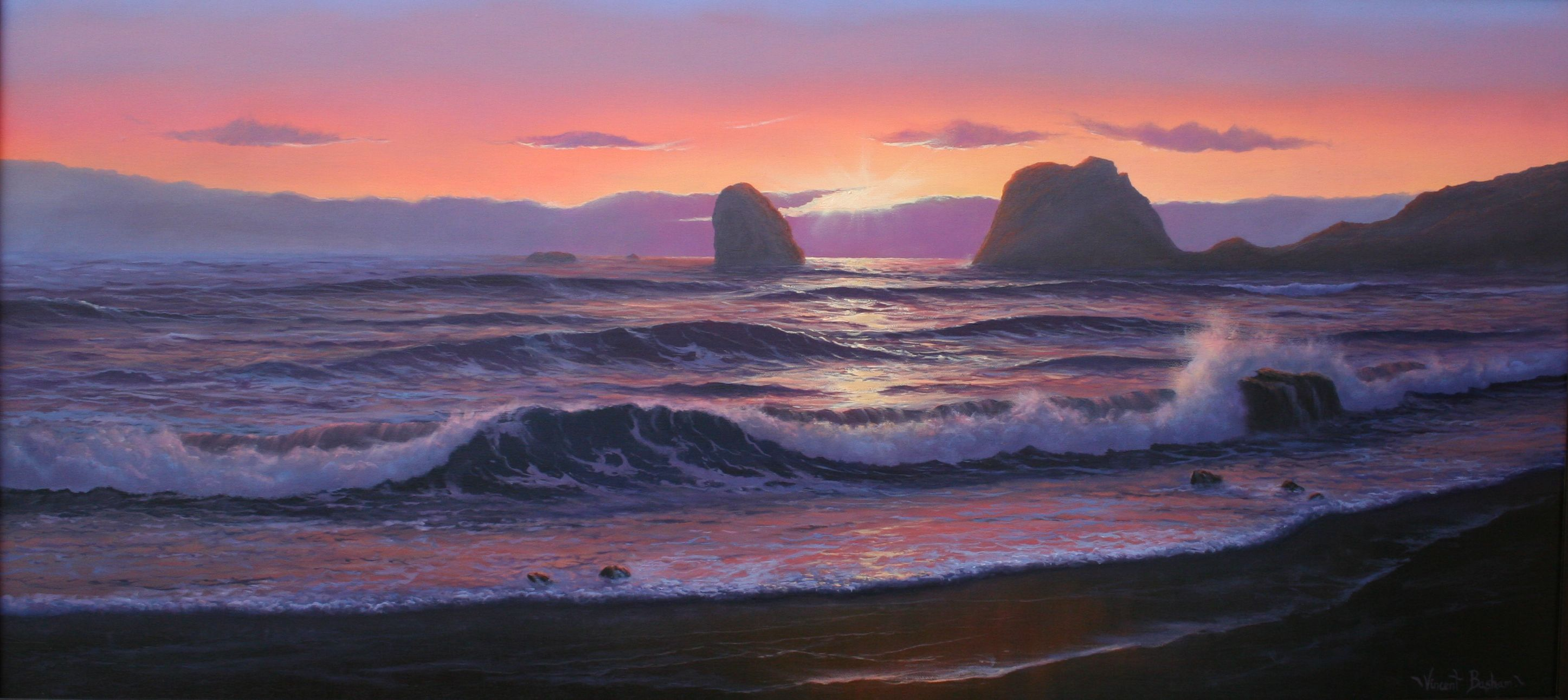 Aphrodite's Rock 460 x 1000 by Vincent Basham Seascape Artist Cornwall