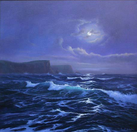 The Moonlit Sea 610 x 610 Cornish Art Cornwall
