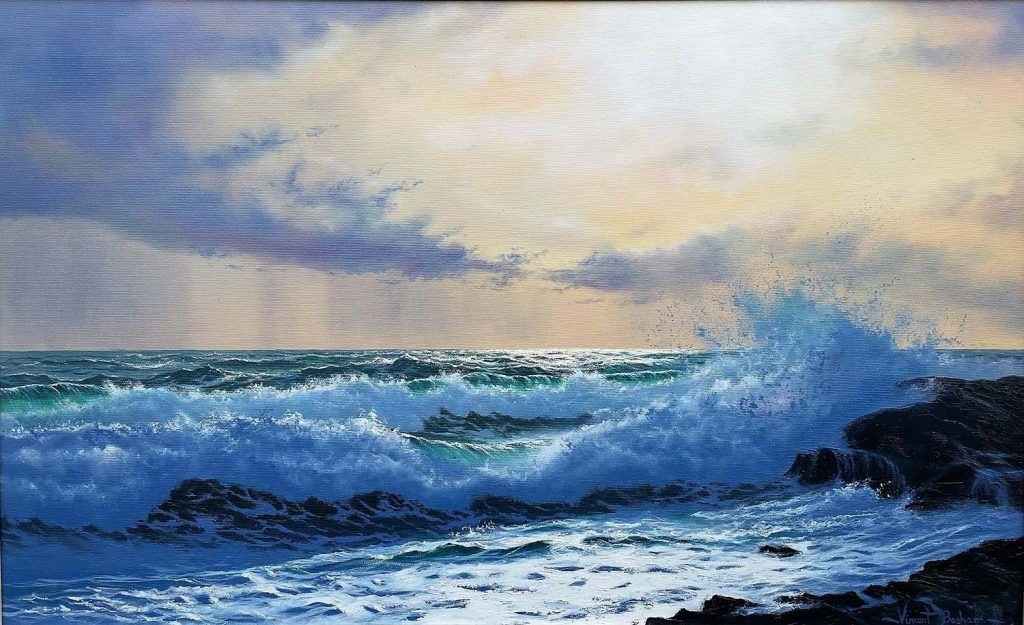 Seascape artist Cornwall Winter Sun Cyprus by Vincent Basham