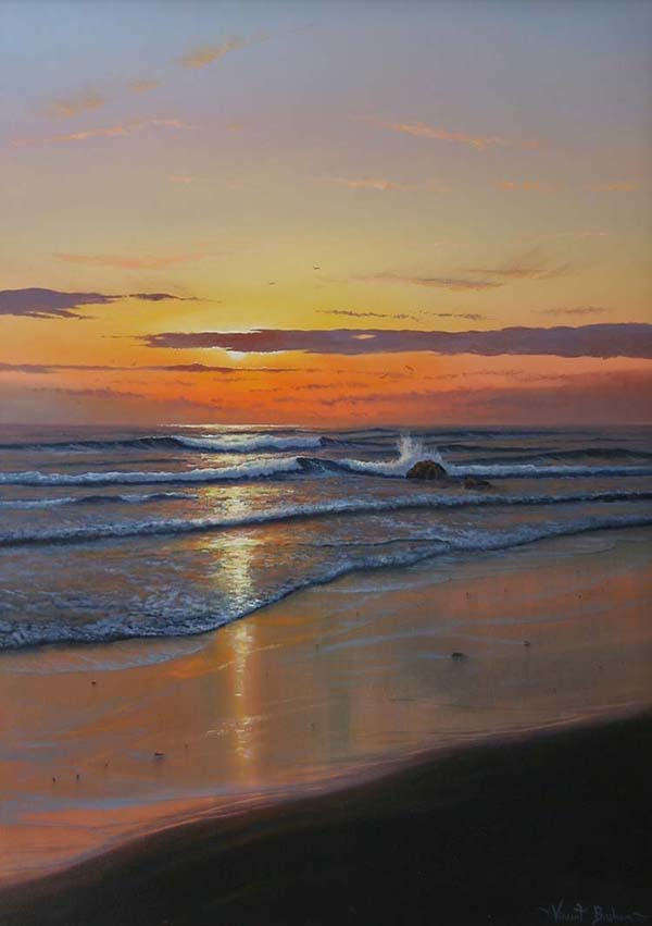 Sunset Painting Cornwall - Vincent Basham