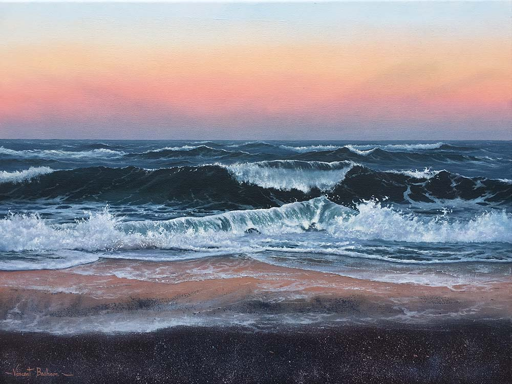 After Glow 460 x 610 by Vincent Basham Seascape Artist Cornwall