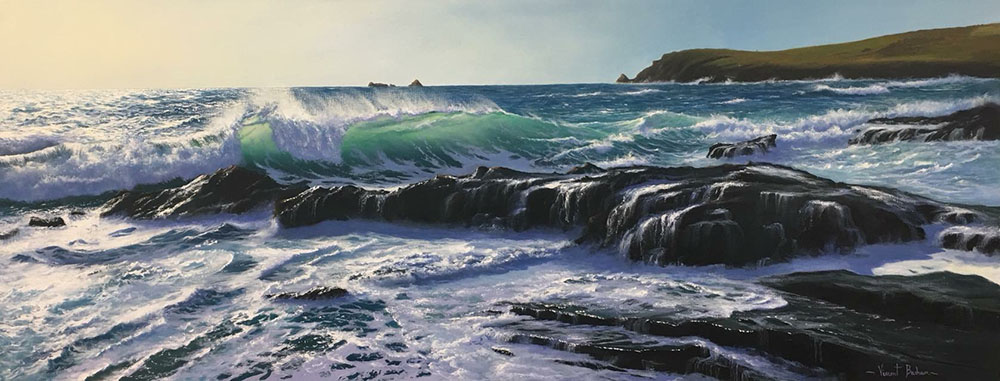 High Tide At Boobys Bay by Vincent Basham Seascape Artist Devon