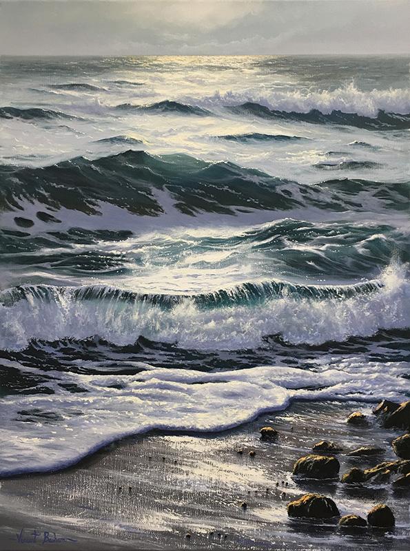 Rocky-Shore-610-x-460 Vincent Basham Seascape Artist Cornwall